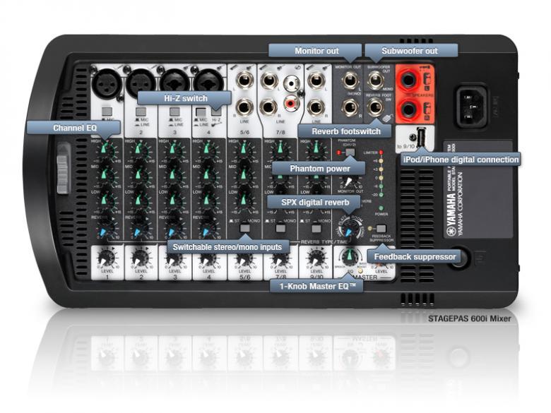 YAMAHA STAGEPAS 600i 600-watin siirrettävä PA-järjestelmä 10-kanavaisella mikserivahvistimella, 2x 10