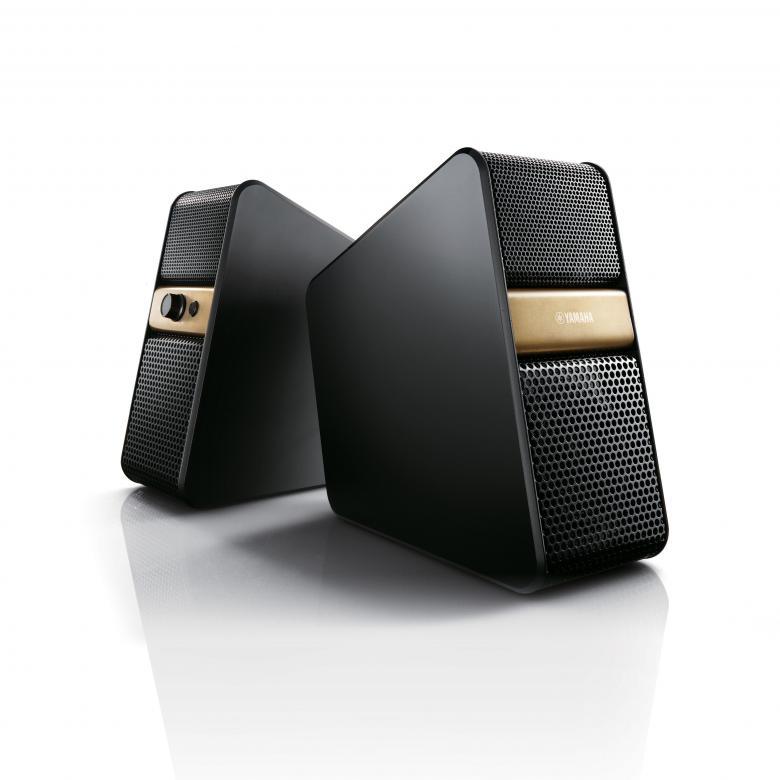 YAMAHA NX-B55 Bluetooth aktiivikaiutin (pari), TV-, PC, SmartPhone- ja Tablet-yhteensopiva, 2x 7W, 55–20000Hz, Bluetooth toimintasäde noin 10m, Automaattinen Standby, kuulokeliitäntä + 2 sisääntuloa, Auto Mix, Bluetooth. Väri kulta.