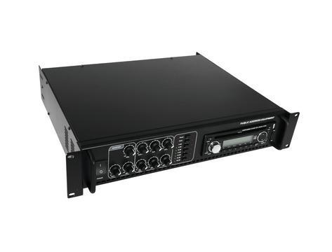 OMNITRONIC EIO6-350 Monialue mikserivahvistin virittimellä ja CD-/MP3-soittimella, SD-korttipaikka sekä USB-portti, 6-aluetta 350W RMS, ulostulot 70V, 100V tai 4-16 ohmia. Kolme line- ja mikrofonisisäänmenoa. Mitat 483 x 385 x 92 mm sekä paino 14.00kg.