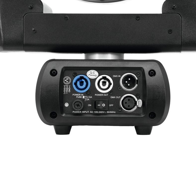 EUROLITE Zeitgeist TMH-360Z Infinity QCL Moving Head Washlight zoomilla ja rajoittamattomalla PAN- ja TILT-liikkeellä, 36x 7W quadcolor LEDiä RGBW-väreillä, moottorisoitu zoomi 13°-60° valokeillalla, RDM-tuki, LED-toimintonäyttö ohjauspaneelilla, master-himmennys, välkkymätön projektio, valmiit väriasetukset, portaaton RGBW-värien vaihto, strobessa välkkymisnopeus säädettävissä, random stroboefekti, automaattinen aseman korjaus, ääniohjaus tai DMX-ohjaus. Mitat 179 x 343 x 430 mm sekä paino 9,5kg.