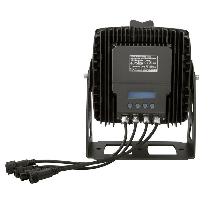 EUROLITE LED IP65 PAD 150W RGB COB LED arkkitehtuurivalaisin 60°. Todella tehokas ja monipuolinen valaisin, joka sopii sisä- ja ulkokäyttöön. LED-toimintonäyttö ohjauspaneelilla valaisimen takana, IR-kauko-ohjain, staattiset värit, ohjelmoitava värien vaihto, himmennin ja strobe-efekti, DMX-ohjaus tai stand-alone, master/slave.