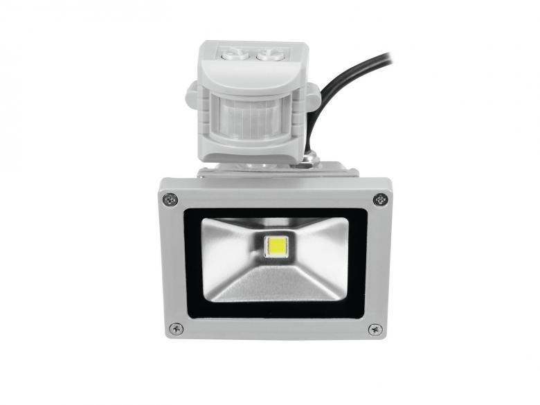 EUROLITE LED IP44 FL-10 MD 10W COB LED-ulkovalaisin liiketunnistimella, valon värilämpötila 6400K (kylmä valkoinen), valokeilan aukeamiskulma 120°. Tehokas ja tyylikäs ulkovalaisin sopii myös sisäkäyttöön. Mitat 114 x 90 x 230mm ja paino 1kg