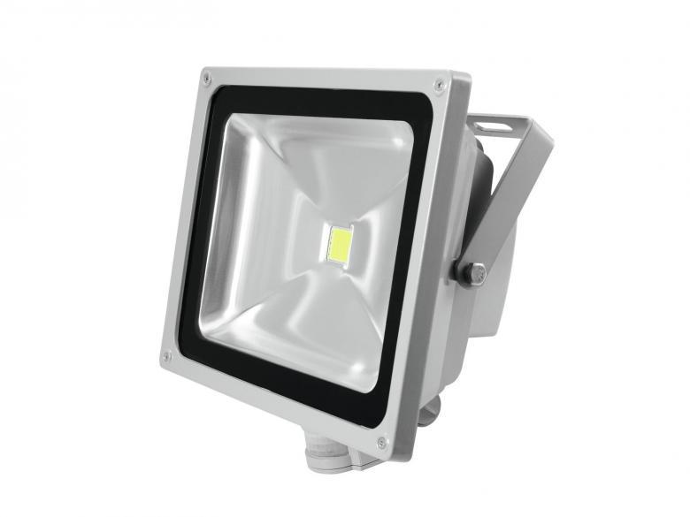 EUROLITE LED FL-50 MD IP44 LED-ulkovalaisin 50W COB LED liiketunnistimella, valon värilämpötila 3000K (lämmin valkoinen), valokeilan aukeamiskulma 120°. Tehokas ja tyylikäs ulkovalaisin sopii myös sisäkäyttöön. Mitat 140 x 284 x 314mm ja paino 3kg