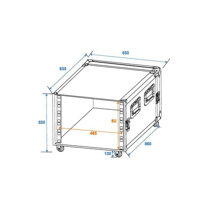 ROADINGER Räkki/ kuljetuslaatikko KM 10U pyörillä, asennuskorkeus 450mm, asennussyvyys 550mm, asennusleveys 19