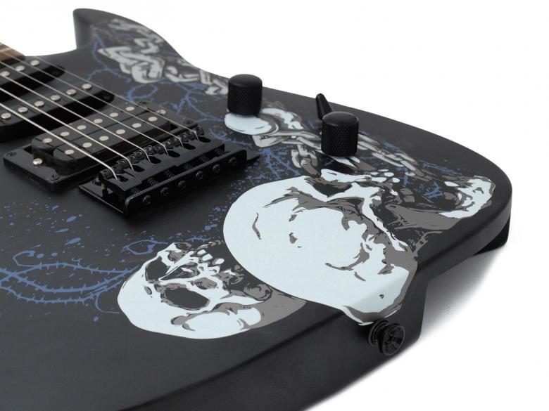 DIMAVERY FR-530 Floyd Rose tyyppinen sähkökitara upeilla pääkallo kuvioinneilla, matta musta. E-Guitar, S&C,matt black