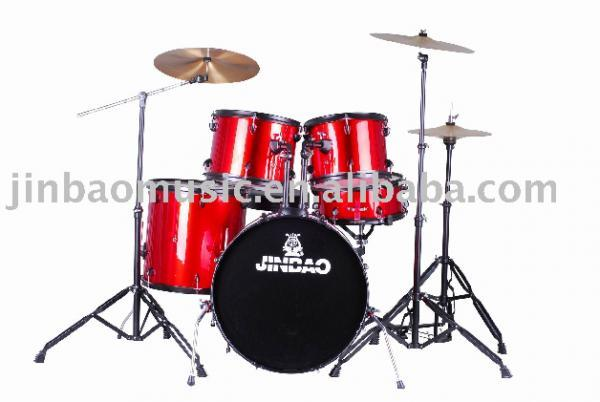 "JINBAO Loppu!!JBP0803 Korkealaatuinen Rumpusetti 5-osainen, <b>Punainen</b>, Rumpujakkara sekä Symbaalit Mukana, High-quality 5 Piece Drum Set Red, 22""x16"" BD, 16""x16"" FT, 14""x5,5"" SD, 13""x10"" TT, 12""x9"" TT + Cymbals + Hardware + Drum throne"
