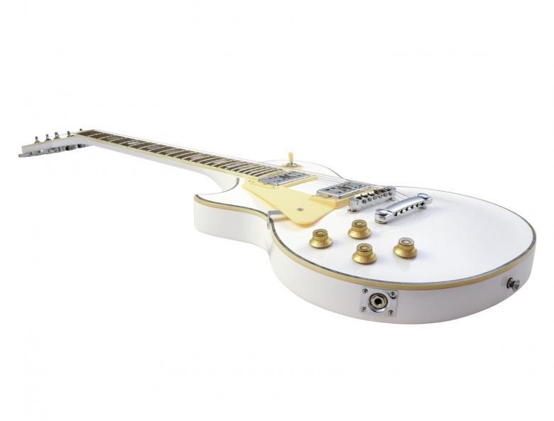DIMAVERY LP-700 sähkökitara valkoinen vasenkätinen left. Lespaul tyylinen kitara, todella laadukkailla osilla.