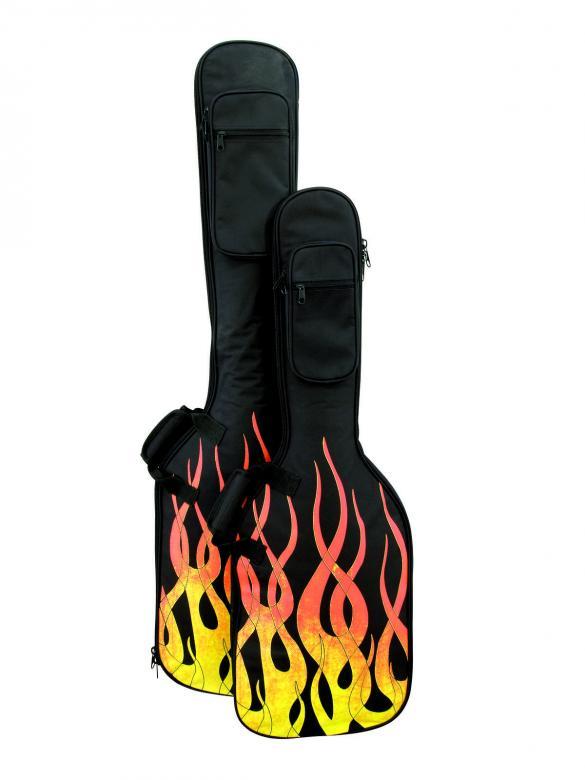 POISTO DIMAVERY ESB-200 kitarapussi sähkökitaralle liekkikuvioitu sekä pehmustettu. Soft-Bag for E-Guitar flame, Kitarapussi sähkökitaralle. Liekkikuvioitu kitarabäg, pehmustettu sekä olkahihnalla varustettu.