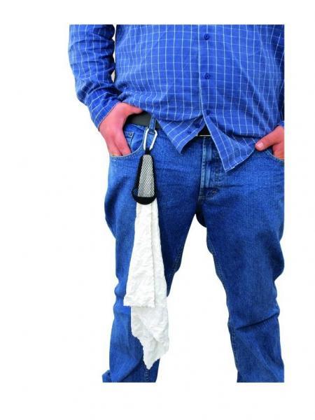 DIMAVERY Stage towel, Lavapyyhe, muusikon käsipyyhe, jonka voit laittaa vyölle tai farkkujen lenkkiin.