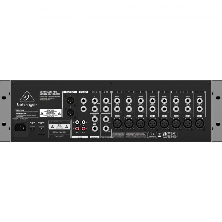 BEHRINGER Eurorack Pro RX1202FX räkkimikseri 8kpl mikkietuastetta ammattiluokan äänenlaadulla, 48V fantom. 4 bal. linjakanavaa (2 stereo) • 2-alue-EQ • 2 efektilähtöä • 4 efektipaluuta • CD/tape-tulo • Itsenäiset tarkkaamo-, kuuloke- ja CD/tape-lähdöt • Sisäinen 24-bit multi- efektiprosessori.