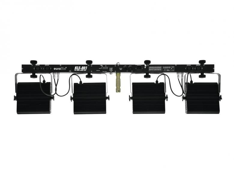 EUROLITE LED KLS-801 TCL DMX 4 spotin valosetti 28x3W Sisältää kuljetuskotelon, TCL LEDit 28x 3W. KLS-Series sarjan keskellä oleva tehokas LED sarja, jonka teho riittää jo pienille ja keskisuurille stageille, tiskijukille, artisteille tms. Mitat 1250 x 120 x 380 mm sekä paino 9,0kg.