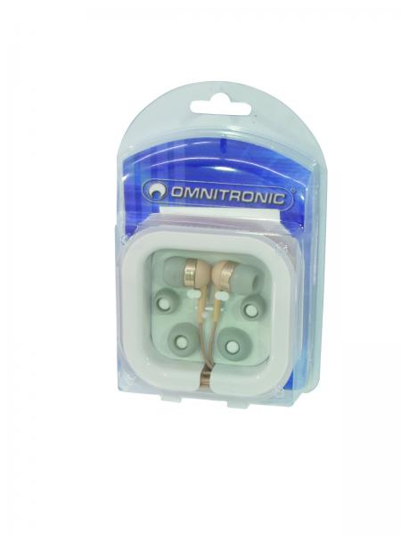 OMNITRONIC SEP-110, Nappikuulokkeet sis. varatyynyt (3 paria), In-ear phones skin co.