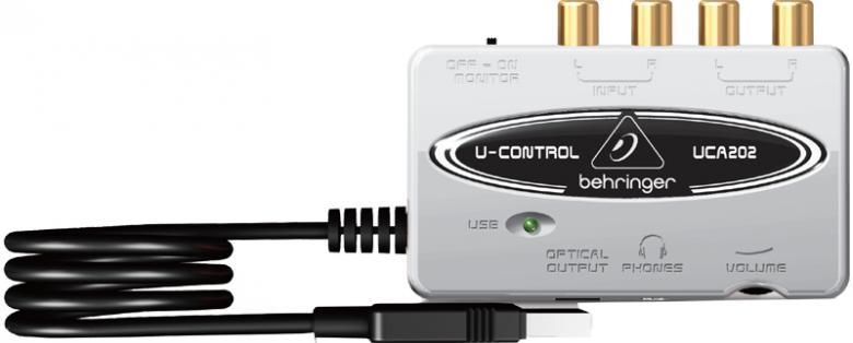 BEHRINGER UCA202 USB äänikortti Sisäänrakennetulla phono-etuasteella vinyylilevyjen ja nauhojen digitointiin. Toimii myös Riia korjaimena, kun kytketty USB. On kytkettävissä sekä MAC ja PC laitteisiin. Ultra-Low Latency 2 In/2 Out USB/Audio Interface with Digital Output. USB -audio Interface.