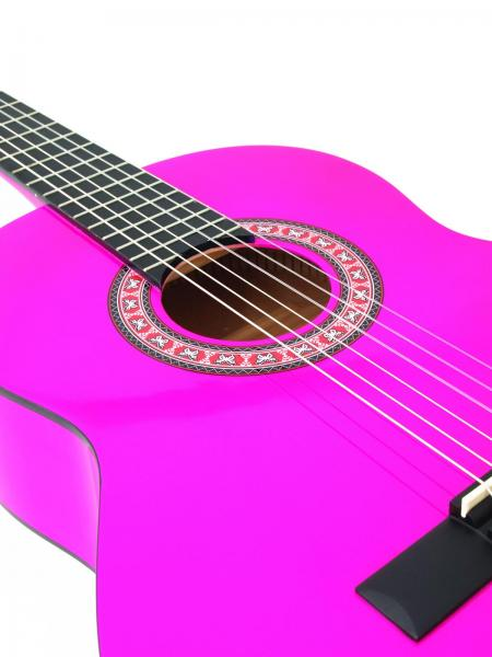 DIMAVERY AC-303 Klassinen Nylonkielinen Kitara, Classical Guitar 4/4, Pinkki, akustinen kitara