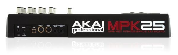 AKAI MPK25-masterkeyboard 25 kosketinta. Todella näppärän kokoinen USB-koskettimisto kunnollisilla minikoskettimilla läppärin kaveriksi, vaikka matkalle.25:n puolipainotetun koskettimen lisäksi, laitteessa on 12 lyönti- ja painoherkkää pädiä, 12 Q-link-potikkaa ja Transport-näppäimet. MPK25 kulkee helposti mukana ja koska laite toimii USB-virralla, MPK25 on ylivoimainen MIDI-ohjain kannettaville tietokoneille.