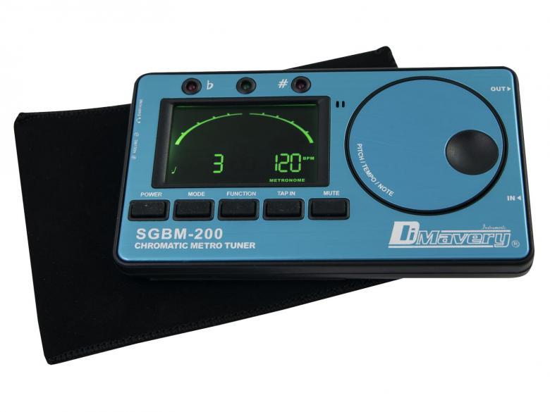 DIMAVERY SGBM-200 Digitaalinen viritysmittari metronomilla, suorat kitara-, basso-, viulu-, ja ukulele -modet ja kromaattinen viritys