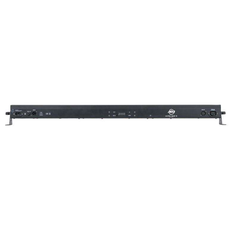 ADJ Ultra Bar 9 LED-palkki 40° 9x3W Kuudella DMX-vaihtoehdolla varustettu, TRI värisekoitus, LED pulse ja strobo efekti nopeuden säädöllä. Soveltuu heijastettavaksi tanssilattioille, seinille ja lavoille.