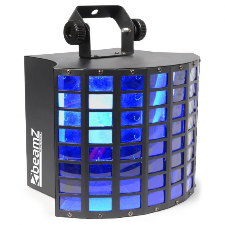 POISTO BEAMZ LED Perhos valo-efekti MultiRadiant 5x 3W RGBAW LEDs DMX Display. Multiradiant, käyttövoimanaan 5x 3W RGBAW LEDiä, luo monikerroksisia moni-värisiä teräviä säteitä ja siten hämmästyttävän shown. Lattiasta-kattoon ja seinästä-seinään valopeitto syntyy vaivattomasti. Toimitetaan sisäänrakennettujen esi-ohjelmoitujen, automaattisten ja ääni-aktivoituvien ohjelmien kanssa. Voidaan käyttää myös DMX:llä (8-kanavaa). Laite voidaan ketjuttaa master/slave-moodiin.