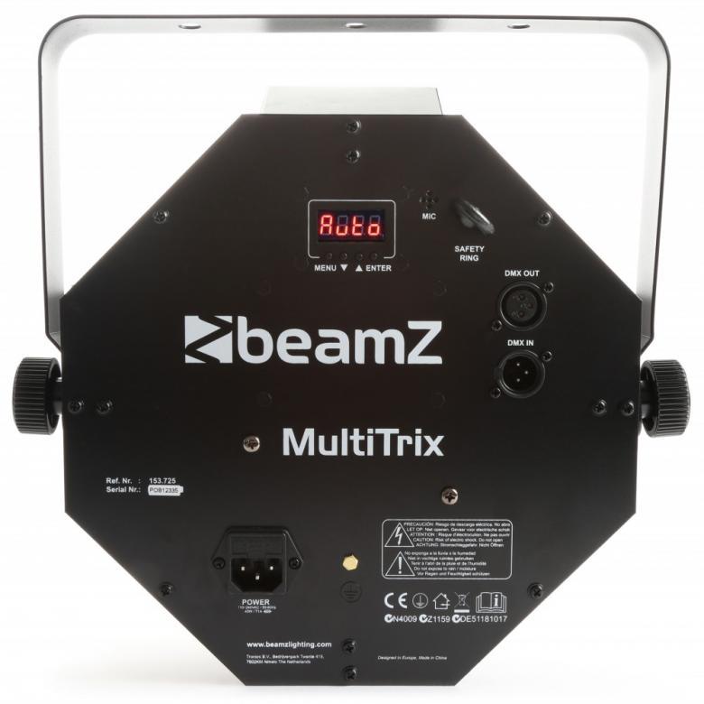 BEAMZ MultiTrix LED RGBAW DMX LED valo-efekti IR kaukosäätimellä. Todella tehokas 25x 1W ledillä varustettu punainen, vihreä, sininen ja valkoinen LED. Neljällä tai kahdeksalla kanavalla varustettu LED efekti, joka on DMX ohjattavissa. Todella upeat musiikkiohjautuvat ohjelmat, automatiikka sekä täysin ohjelmoitava DMX ohjaimilla. Mitat 390 x 390 x 270mm sekä paino 2.3kg.  Laadukas LEDs DMX Display josta voit valita halutun toiminteen.