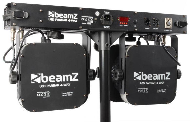 BEAMZ LED PARBAR 4-Way Kit 9x 3W Tricolor DMX. Neljän spotin DMX LED poikkitanko spotteineen. Kokoontaittuva, kevyt, monipuolinen ja moneen sopiva neljä-spottinen DMX LED PARBAR on nopea ja helppo asentaa, täydellinen liikutettavaksi valaisuratkaisuksi. Mukana neljän kytkimen jalkapedaali-ohjain, T-BAR LED DMX-signaalin vastaanotin/jakaja sekä kantolaukku. Tämä tuote on modernin teknologian