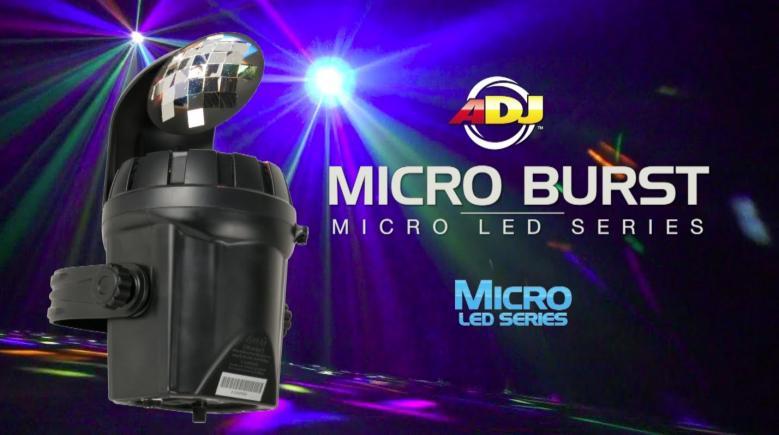 ADJ ADJ Micro Burst, osa Micro LED-sarjaa. Tämä efekti täyttää huoneen kymmenillä monivärisillä veitsenterävillä säteillä sen kirkkaasta valkoisesta LEDistä. Alhainen virrankulutus, pitkäkestoinen LED valonlähde ja helppokäyttöisyys, tekevät Micro Burstista hyvän efektin juhliin, karaoke-tapahtumiin, pienille baareille ja clubeille sekä kotikäyttöön. Uudet LED efektit korvaavat perinteiset efektit monipuolisuudellaan. Pitkä LEDien käyttöikä 50000- 100000 tuntia, ei lamppujen vaihtoa! Myös keikkailevat tiskijukat sekä clubit voivat ottaa helposti tämän tyyppiset valot käyttöönsä. Kytke vain virta ja monipuoliset musiikin kanssa ohjatut ohjelmat saavat tanssilattiasi elämään! Mitat: 286 x 165 x 134mm Paino: 0.74 kg.