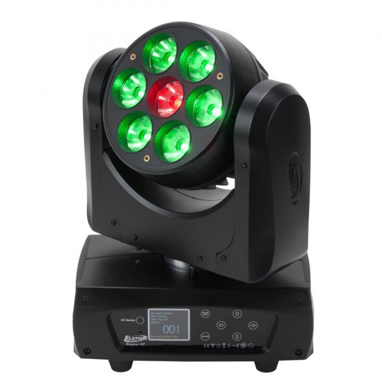 ELATION Rayzor Q7 LED Moving head 7° Osram Ledit on pienin nopein ja tehokkain Moving Head LED pesuri/säde-efekti luokassaan. Hyväksikäyttäen neliväri LED- ja korkean valontuoton optista-teknologiaa, Rayzor Q7 tuottaa tarkan säteen 7 asteen leviämiskulmalla. Rayzor on erittäin nopea liikkeissään, kiitos sen tehokkaan 3-vaihe moottorin. Laitteessa 7 x 15 Watt Osram Quad Color RGBW LEDit joita voidaan ohjata neljänä itsenäisenä alueena dynaamisten valo-efektien luomiseksi. Lisätarvikkeina saatavilla sumennus-filtterin pidike sekä lisäreunuksellinen linssinsuoja. Rayzor Q7ssa on värillinen LCD-menupaneeli, powecon sisään/ulos linkitys, moni-volttinen virtalähde 100-240v ja 5pin DMX vakiona. Paino 5 kg, Mitat 23.5cm x 14cm x 31.8cm