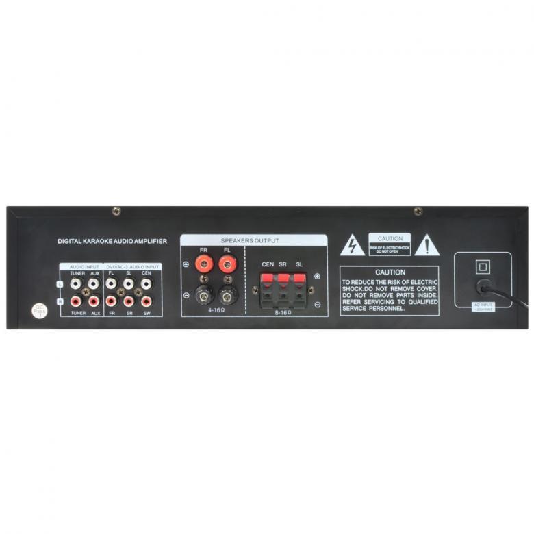 SKYTRONIC AV-320 Karaoke-Surround vahvistin musta 5-Channel HQ Surround amplifier MP3!!! Etupaneelissa USB portti, 2 mikrofoniliitäntää (6.3mm plugi), Volume säädöt mikrofonikanaville, Basso, diskantti ja balanssi säätimet etupaneelissa, Lähtöteho 2x100W, Kaiuttimille ruuviliittimet, Etupaneelissa ohjaus MP3 soittimelle. Mitat 420 x 280 x 100mm Paino 4kg