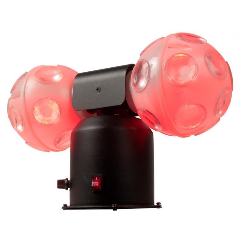 ADJ Jelly Cosmos Ball 6x3W TRI LED-Tupla valopallo. Uudessa Jelly Cosmoksessa on kaksi pyörivää TRI-LED valaistua palloa jotka kiertävät jalustaa ja vaihtavat väriä musiikin tahtiin. Loistava keskus-efektivalo joka kattaa suuren alueen kerralla. Muuttuva nopeus. Uusi Twisti vanhaan suosikkiin! 6x 3-Watin kolme-yhdessä RGB TRI Color LEDiä jotka tuottavat valikoiman väri-efektejä, Virrankulutus: 18W, Mitat (PxLxK): 337.9 x 134 x 254mm, Paino: 2 kg.