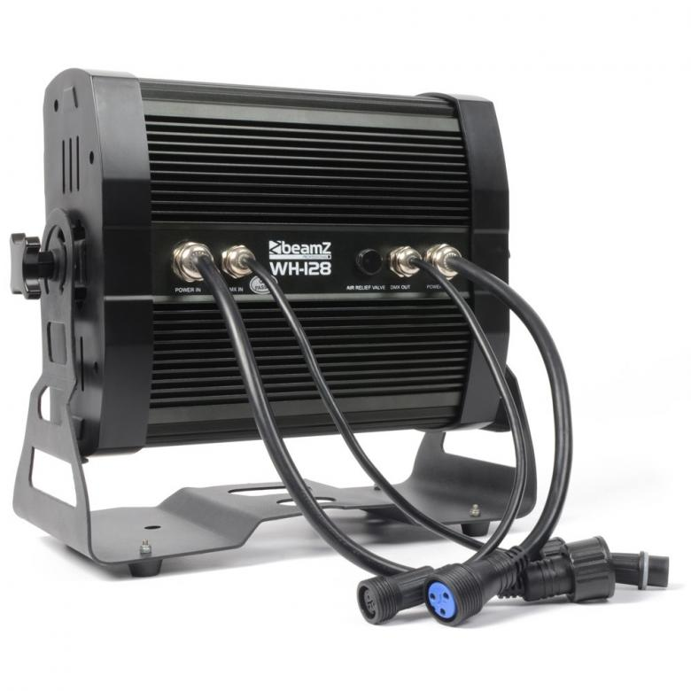 BEAMZ WH-128 Wall Washer-LED-pesuri 12x8W Quad. ulkokäyttöön!!! WH-128 Wall Washer 12x 8W Quad LEDs IP65 + 5m cable on ammattimaiseen sisä- ja erityisesti ulko-käyttöön (IP65) suunniteltu laite. Arkkitehtuuriseen käyttöön, ammattilais-lavoille, ulkoilma konsertteihin, elokuva-setteihin, TV-studioille, Discoihin jne... Kaksitoista 8W neli-väri-LEDiä takaavat erittäin suuren valontuoton. Sopii tilaisuuksiin joissa asennusaika on pieni ja DMX-kaapeloinnin vetäminen vaikeaa. Mukana sisäänrakennetut ohjelmat, sähköinen himmennys, kolme DMX-moodia kahdeksalla kanavalla ja viiden metrin kaapeli kytkemiseen BEAMZ WH-128 12x 8W - langattoman mallin kanssa. Mitat 398 x 220 x 289mm Paino 17.5kg