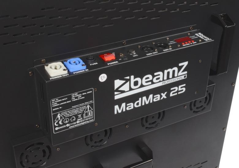 BEAMZ MadMax 25x 10W COB LED Matrix - Ammattilaisen pesuri/matrix!!! Tässä voimakkaassa 25x 10W COB LED Matrix efektissä on loputtomat mahdollisuudet minkä tahansa shown korottamiseen uudelle tasolle. Laite tuottaa hämmästyttävän valo-shown kiitos sumennettujen linssien sekä erittäin kirkkan moni-värisen valontuoton. Jokaista LEDiä voidaan ohjata erikseen. 75-kanavainen DMX-moodi erilaisiin sovelluksiin, strobo-toiminto, musiikki-ohjaus, sisäänrakennetut ohjelmat. Sisäänrakennettu efektikirjasto kirjaimin, numeroin, juoksutuksin jne... Neljä laitetta voidaan linkittää yhteen (virta & DMX). Soveltuu kaikenlaisiin valo-ratkaisuihin!!! 1,3,5,25,75 DMX kanava-moodit, LEDit kontrolloitavissa yksittäin, Mitat 580 x 580 x 120mm, Paino 13kg