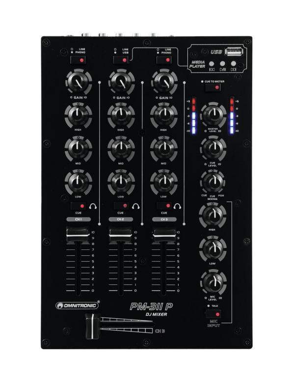 OMNITRONIC PM-311P DJ mikseri, (1xMp3/line, 2x phono/line). Uusi 3-kanavainen DJ mikseri edulliseen hintaluokkaan. Tämä tuote soveltuu loistavasti kotikäyttöön sekä satunnaisesti keikkailevalle tiskijukalle tai vaikkapa Pub käyttöön, kun vain muutama ohjelmalähde! Mp3 soittimella voidaan hoitaa esim. taustamusiikki DJ:n poissa ollessa.!Mitat 260 x 172 x 78 mm sekä paino 1,5kg.