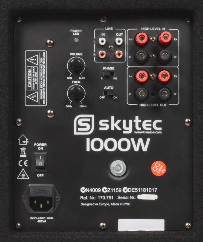 SKYTEC TX15A PA aktiivi-Subwoofer 15