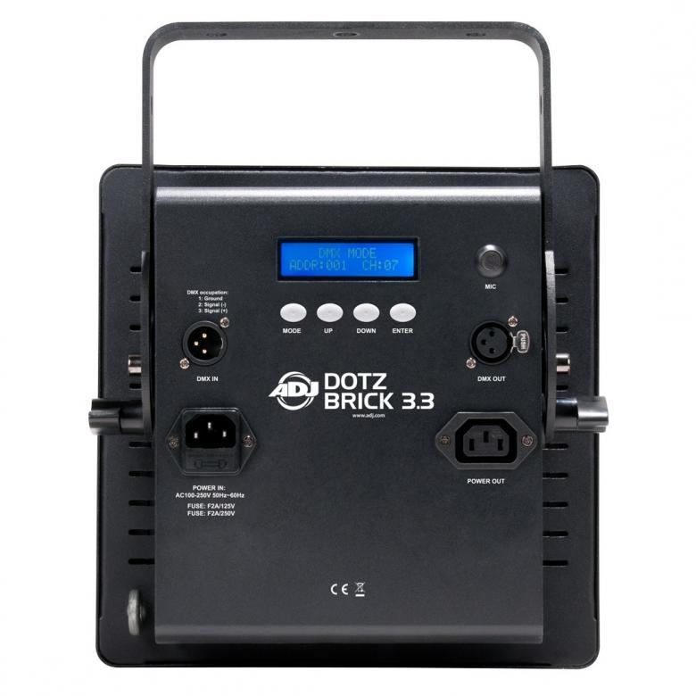 ADJ Dotz Brick 3-3-Pesuri blinder, jossa käytetään edistynyttä COB LED-teknologiaa joka sallii voimakkaan LED valonlähteen sijoittamisen erittäin pieneen tilaan. Tuloksena on turbo-ahdettu, korkean valontuoton, valo-pesuri jonka erittäin tasainen ja tehokas väriensekoitus saa voimansa yhdeksästä 9W TRI COB LEDistä. 0-100% himmennys, strobo/pulssi-efekti, sisäänrakennettuja ohjelmia ja väri-makroja, ääni-aktivoituna tai DMX-ohjattuna. Mitat: 259 x 169 x 300mm Paino:4.8 kgs.