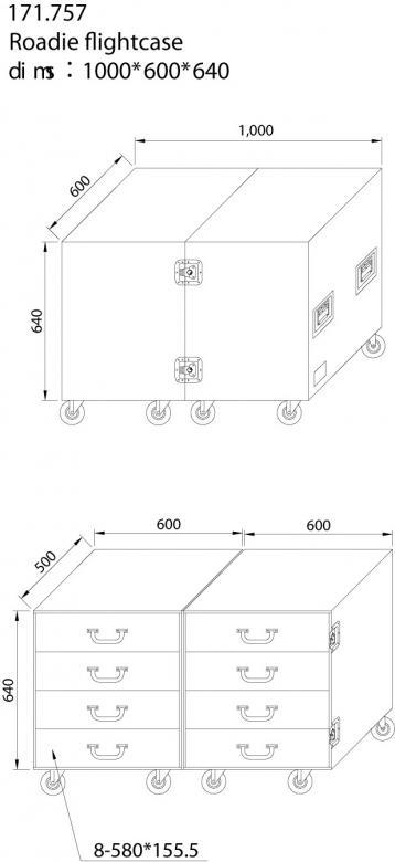 POWERDYNAMICS Roudarin vetolaatikkosto. Vankka rakenne 9mm laminaatista, alumiiniprofiili kaikissa reunoissa, teräsvahvistetut kulmat, päissä upotetut kantokahvat, perhoslukot kuljetusasentoon lukitusta varten. Sisämitat: 515 x 410 x 110mm/laatikko Paino: 70Kg