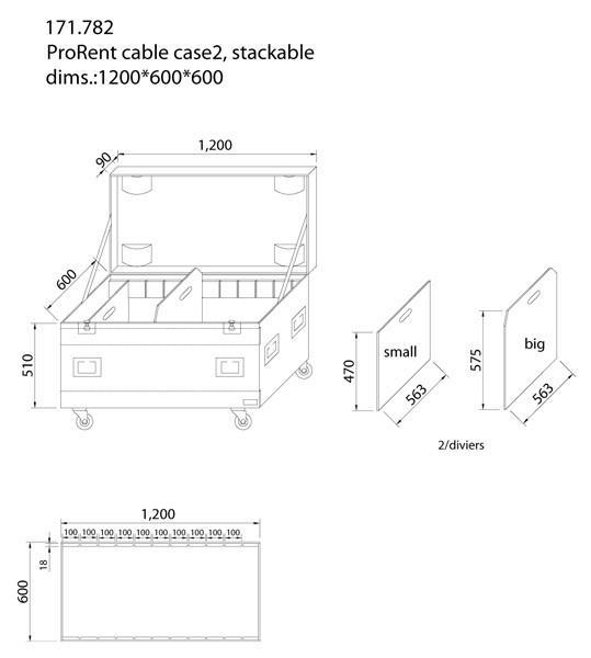 POWERDYNAMICS PD-FA1 Kuljetuslaatikko kaapeleille 120cm. Iso ja vankka kaapelilaatikko kaikkien roudaus-tarpeiden säilöntään. Ei enää asennusmateriaalia, kaapeleita, mikrofoneja jne.. omilla teillään. Laatikko on tehty vankasta laminoidusta vanerista. Taittuvat kantokahvat, perho-lukot ja 3.5
