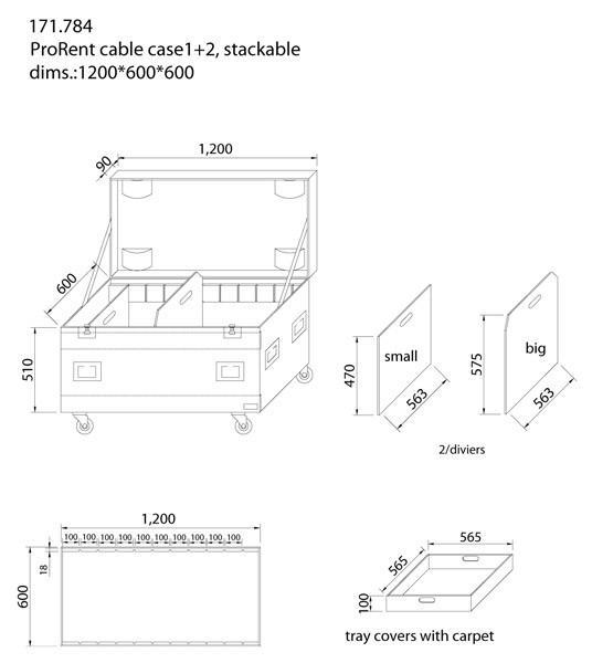 POWERDYNAMICS PD-FA2 Kuljetuslaatikko kaapeleille 120cm. Iso ja vankka kaapelilaatikko kaikkien roudaus-tarpeiden säilöntään. Ei enää asennusmateriaalia, kaapeleita, mikrofoneja jne.. omilla teillään. Laatikko on tehty vankasta laminoidusta vanerista. Mattopäälysteinen laatikko, taittuvat kantokahvat, perho-lukot ja 3.5