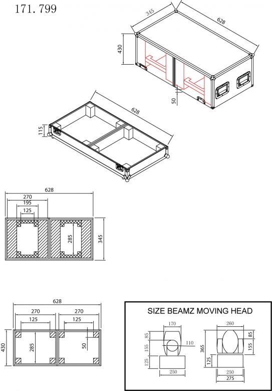 POWERDYNAMICS PD-FA3 Moving headien kuljetuslaatikko. Ammattimainen kuljetuslaatikko joka on suunniteltu suojelemaan arvokkaita laitteitasi kuljetuksen aikana. Laatikko on tehty vankasta laminoidusta vanerista, alumiiniprofiili reunoissa, taittuvat kantokahvat sekä perho-lukot. Sopii kaikille BEAMZ-moving headeille.