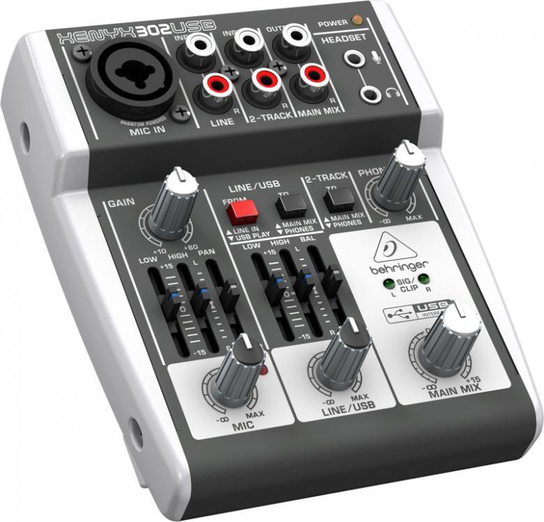 BEHRINGER XENYX 302USB on näppärä pikkumikseri, josta löytyy mikrofonikanava Xenyx-etuasteella, phantom syöttö, graafinen EQ ja XLR-plugi-comboliittin. Mikserissä on line-, USB- ja  erillinen stereosisääntulo, kuin myös sisäinen USB- ja audio interface, eli ihan ykköstyökalu myös muusikoille. Mitat: 117 x 135 mm Paino: 380g