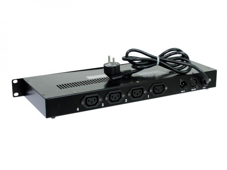 EUROLITE SPX-4 DMX switch pack, katkaisin pakkki DMX - räkki-asennettava. Voit ohjata kaikkia analogisia laitteita tällä pakilla. On/OFF. 4 x 1150W channel, Max. power output 3680W
