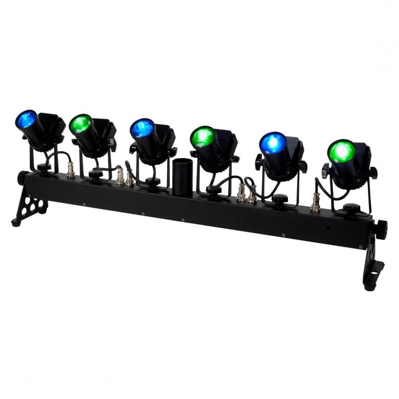 AMERICANDJ The ADJ TRIBAR SPOT is a 6-head LED Pinspot system powered by 5-watt TRI LEDs. It's designed to spot tables, walls, stages and dance floors, and may be mounted on truss or a tripod stand. 