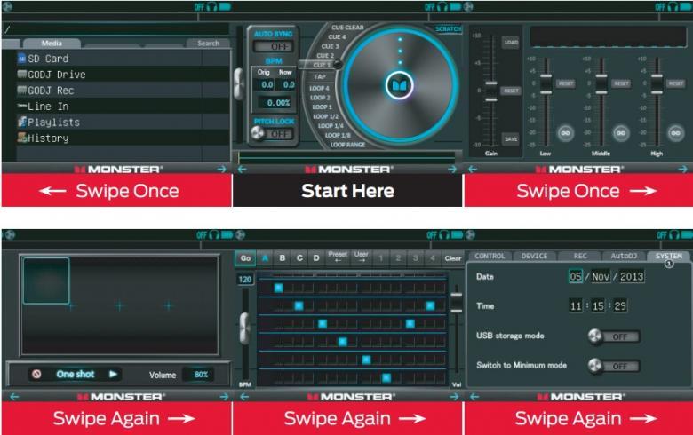MONSTER DJ-kontrolleri GO-DJ on seuraava vaihe modernien DJ tuotanto-laitteiden evoluutiossa.. GO-DJ paketoi studion täynnä ammattilaitteistoa taskukokoon, antaen mahdollisuuden tuottaa (ja nauhoittaa) lähetys-laatuista ääntä ja DJ-settejä missä vain. Pystyt lataamaan GO-DJhin musiikki WAV (16-bit 44.1 kHz stereo) tai MP3 (max. 320-kbps 44.1 kHz stereo) muodoissa PC:ltä tai Macilta. Tukee muistikortteja 2Tb (kyllä, se on Terabitti) asti, auto-dj soittolistoineen esim. taustamusiikkisoittoon, rumpupadit, virtuaalikitara, linja-sisään jne... ja kaikki taskukoossa. Voit myös tuoda musiikkia sisään ja miksata ulkoiselta lähteeltä. Tämä on HYPE tuote, kuin kaksi matkapuhelinta ja mikseri!