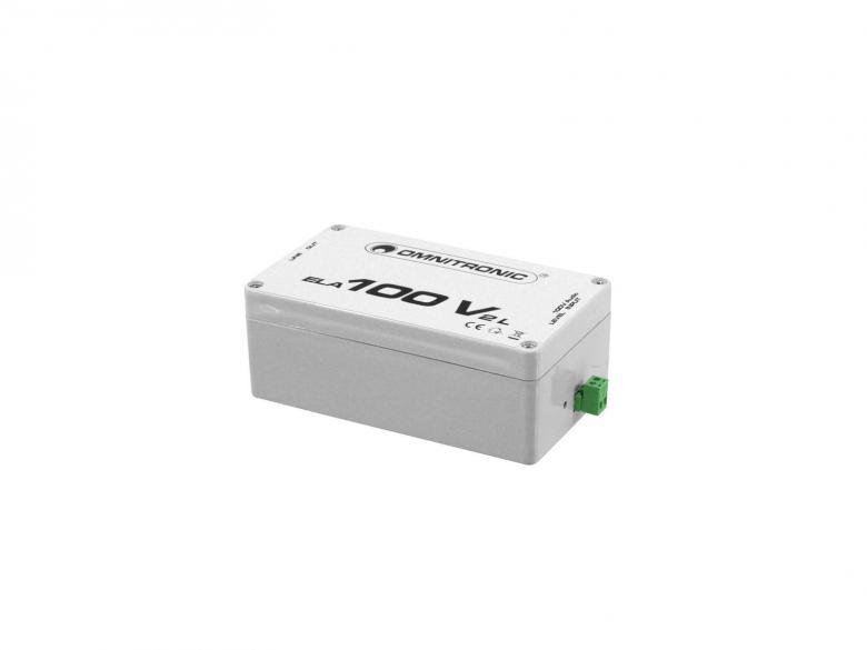 OMNITRONIC ELA-100V-2-L Transformer-Muuntaa 100V signaalin takaisin linjatasoiseksi. Hyvä pitkän matkan häiriöttömään äänensiirtoon. Ulostulot XLR sekä RCA liittimin. Mitat 157 x 90 x 60 mm sekä paino 500gr.