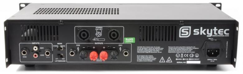 SKYTEC SKY-4000 II PA Amplifier 2x 2000W SMT 4Ω, Bridge 4000W Tehokas päätevahvistin, eli tehoa kohtuu hintaan! Paino vain 9.15Kg! RMS 2x 2000W 4ohm!Skytecin valmistama tehokas vahvistin, eli tehoa kohtuuhintaan! Varmatoiminen SMT-päätevahvistin moneen käyttöön!