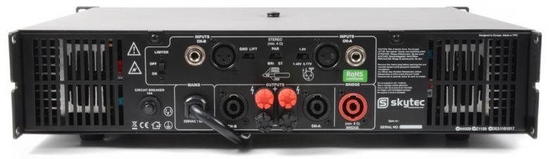 SKYTEC SKY-6000 II PA Amplifier 2x 3000W SMT 4Ω, Bridge 6000W Tehokas päätevahvistin, eli tehoa kohtuu hintaan! Paino vain 14.1Kg! RMS 2x 3000W 4ohm! Skytecin valmistama tehokas vahvistin, eli tehoa kohtuuhintaan! Varmatoiminen SMT-päätevahvistin moneen käyttöön!
