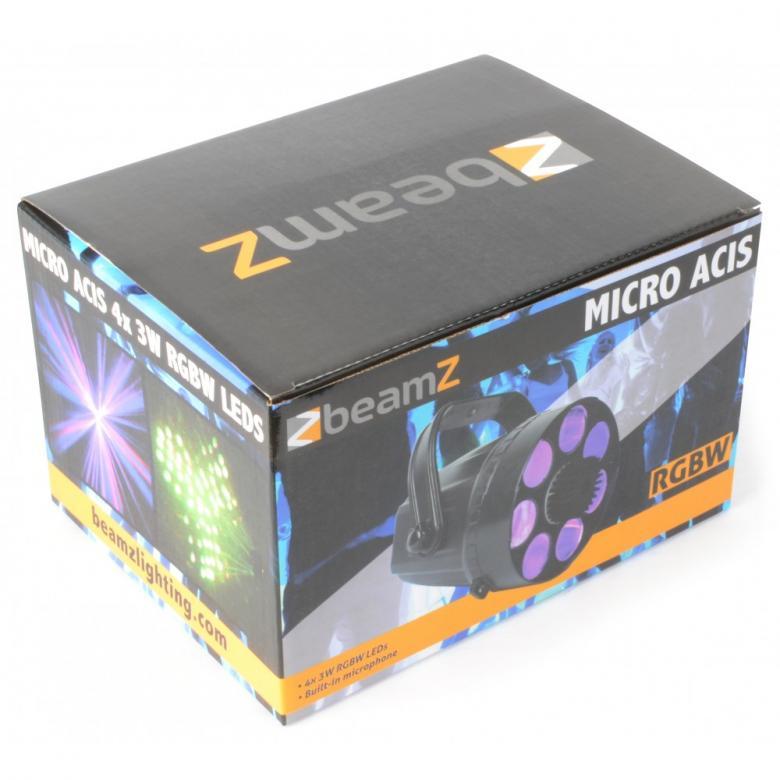 BEAMZ Micro Acis LED-valoefekti RGB tri Täyttää huoneen kymmenillä monivärisillä veitsenterävillä säteillä sen kirkkaasta 3-IN-1 RGB TRI LEDistä. Alhainen virrankulutus, pitkäkestoinen LED valonlähde ja helppokäyttöisyys, tekevät Micro Phasesta hyvän efektin juhliin, karaoke-tapahtumiin, pienille baareille ja clubeille sekä kotikäyttöön. Uudet LED efektit korvaavat perinteiset efektit monipuolisuudellaan. Pitkä LEDien käyttöikä 50000- 100000 tuntia, ei lamppujen vaihtoa! Mitat: 200 x 190 x 140mm Paino: 1.5kg