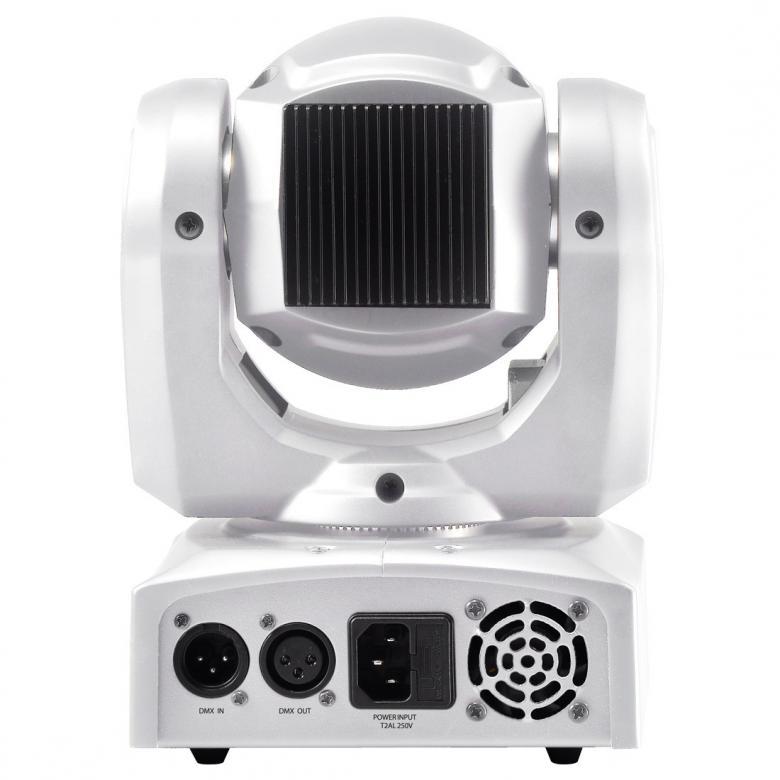 ADJ Inno Pocket Spot PEARL LED-moving head. ADJ jatkaa teknologian rajojen etsimistä uudella Inno Pocket Spotillaan, kompakti, älykäs Moving Head jossa kirkas 12W LED valonlähde. Laitteessa on 7 pyörivää, vaihdettavaa goboa, 7+valkoinen väriä, erillisissä gobo- ja väri-kiekoissa. Inno Pocket Spot LED on kevyt ja pieni tehden siitä erittäin hyvän liikuteltavan ja soveltuu minkä tahansa kokoisen viihdyttäjän asennettavaksi. 9 tai 11 DMX-kanavaa, Mitat (PxLxK): 159 x 147 x 265mm, Paino: 3kg