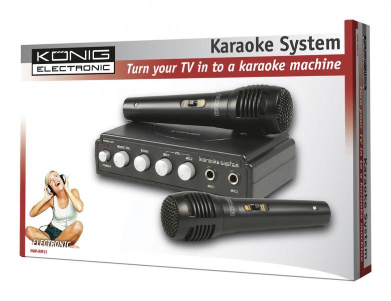 KÖNIG Karaoke Mikseri+ mikrofoni Ole Pop-tähti ja Vakuuta ystäväsi laulutaidoillasi, se onnistuu tällä karaoke-mikserillä. Tämä karaoke-mikseri on todella helppo saattaa käyttökuntoon ja pääset laulamaan kätevästi. Helppokäyttöiset säätimet mahdollistavat lapsienkin käyttää laitetta vaikka omin päin. Ihanteellinen juhliin ja sopii kaikenikäisten käyttöön! Karaokemikserin avulla saat liitettyä järjestelmääsi kaksi mikrofonia jotka sisältyy tähän edulliseen tarjouspakettiin.