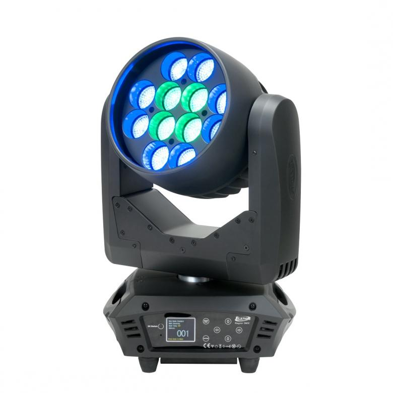 ELATION Rayzor Q12 Zoom- Kompakti Wash movinghead. a compact and fast wash lluminare featuring (12) 15W Quad Color RGBW LEDs, 11° to 39° motorized zoom, RGBW color mixing and color macros, multiple pixel zone control and chase effects, 16bit 3-phase motors, 5pin DMX and powerCON in/out connections, RDM (remote device management), flicker free operation for broadcast TV and FILM, (6) button control full color 180° reversible menu display, 240W max power consumption, and a multi-voltage universal auto switching power supply (100-240v).