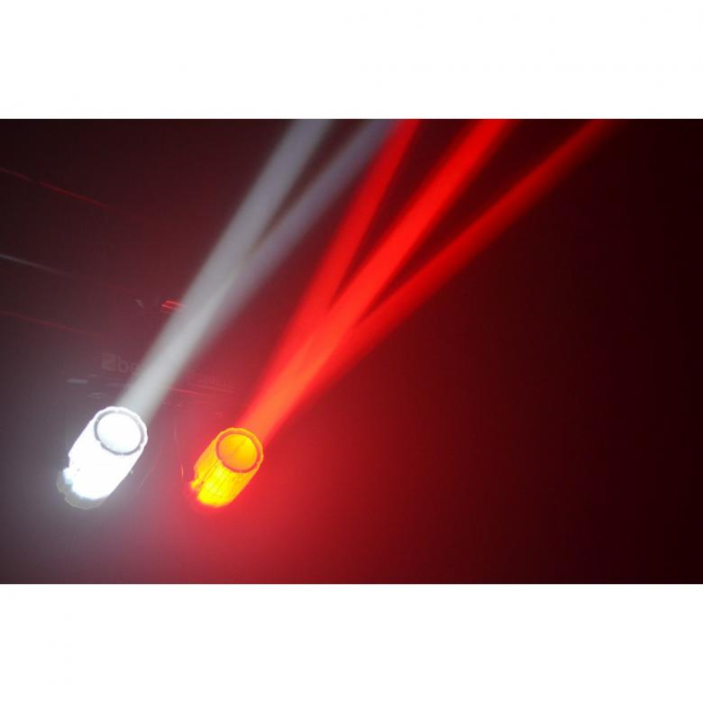 BEAMZ 2-Some LED-valosetti 3x57 RGBW. LED läpikuultavat spoti. Kahden valon kimppa! Tässä 2-Some valo-efektissä on 2 LED sädekimppuefektiä jotka on helppo asentaa mukana tulevaan T-tankoon. Molemmat laitteet voidaan suunnata erikseen ja luoda kauniita valo-ohjelmia. Jokaisessa laitteessa on 57 RGB LEDiä suurella valontuotolla ja ne pystyvät tuottamaan hienoja kuvioita. Helpon käytön takaamiseksi laitteet toimivat sisäisillä ohjelmilla tai ääni-ohjattuina. T-Bar sopii kaikkiin BEAMZ-valostandeihin joten 2-some on täydellinen ratkaisu millä tahansa keikkareissulla. Mitat: 430 x 110 x 410mm Paino: 3.25kg