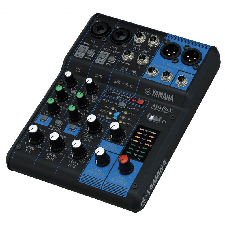 YAMAHA MG06X Analoginen PA mikseri efekteillä Yamahan suositut MG-sarjan analogimikserit ovat uudistuneet!! Laatua ja kestävyyttä kohtuuhinnalla.  6-kanavainen analogimikseri. 2 mikrofonisisäänmenoa / 6 linjasisäänmenoa, 1 stereo bus, D-PRE etuasteet, Balansoidut XLR-ulostulot, +48V, SPX-efektit , Metallirunko, paino 0.9 kg